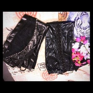 Pants - ⭐️BUNDLE 2 PR OF BLACK VINYL LACED PANTS/SZ LRG⭐️